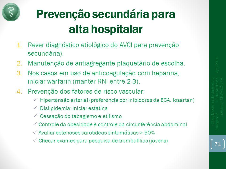 Prevenção secundária para alta hospitalar 1.Rever diagnóstico etiológico do AVCI para prevenção secundária).