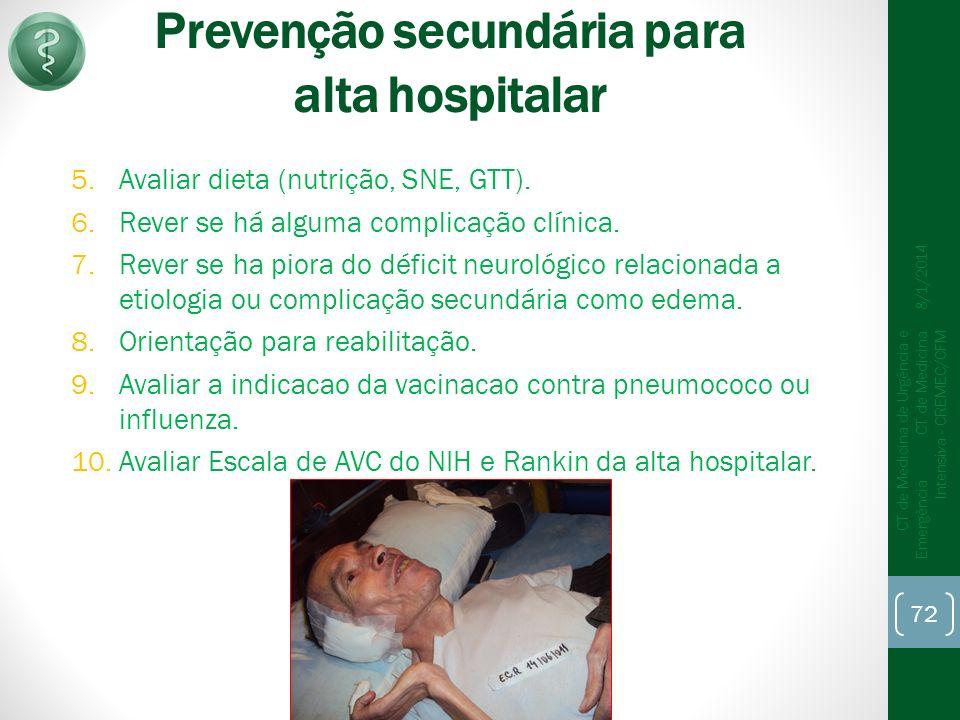 Prevenção secundária para alta hospitalar 5.Avaliar dieta (nutrição, SNE, GTT).