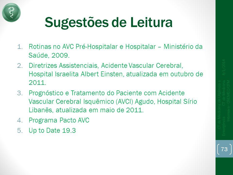 Sugestões de Leitura 1.Rotinas no AVC Pré-Hospitalar e Hospitalar – Ministério da Saúde, 2009.