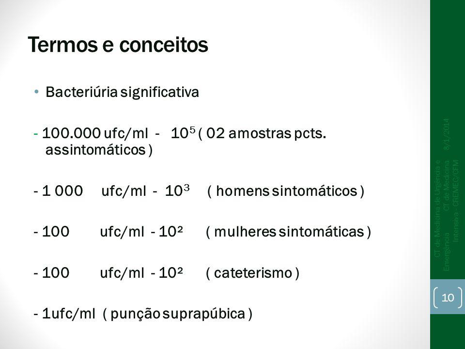 Termos e conceitos Bacteriúria significativa - 100.000 ufc/ml - 10 5 ( 02 amostras pcts. assintomáticos ) - 1 000 ufc/ml - 10 3 ( homens sintomáticos