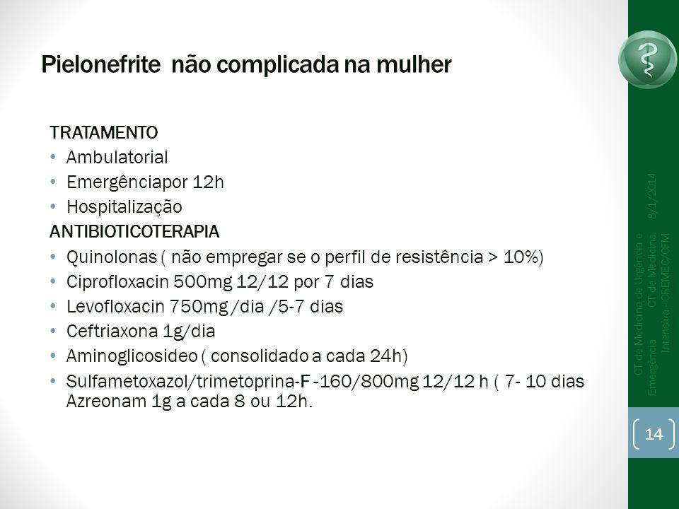Pielonefrite não complicada na mulher TRATAMENTO Ambulatorial Emergênciapor 12h Hospitalização ANTIBIOTICOTERAPIA Quinolonas ( não empregar se o perfil de resistência > 10%) Ciprofloxacin 500mg 12/12 por 7 dias Levofloxacin 750mg /dia /5-7 dias Ceftriaxona 1g/dia Aminoglicosideo ( consolidado a cada 24h) Sulfametoxazol/trimetoprina-F -160/800mg 12/12 h ( 7- 10 dias Azreonam 1g a cada 8 ou 12h.