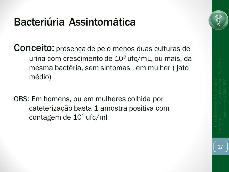 Bacteriúria Assintomática Conceito: presença de pelo menos duas culturas de urina com crescimento de 10 5 ufc/mL, ou mais, da mesma bactéria, sem sint