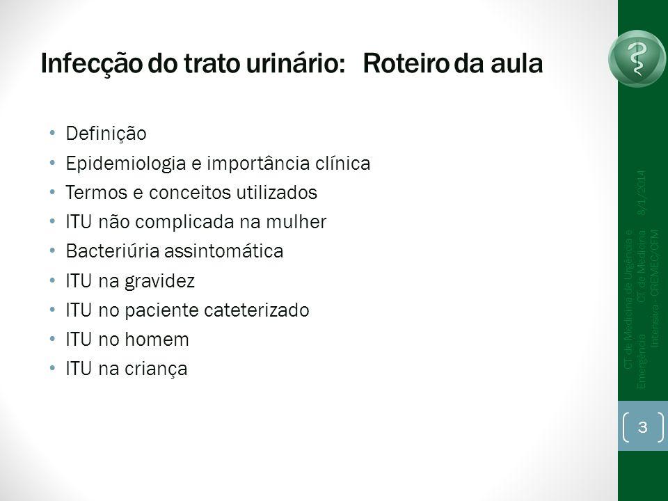 Infecção do trato urinário: Roteiro da aula Definição Epidemiologia e importância clínica Termos e conceitos utilizados ITU não complicada na mulher B