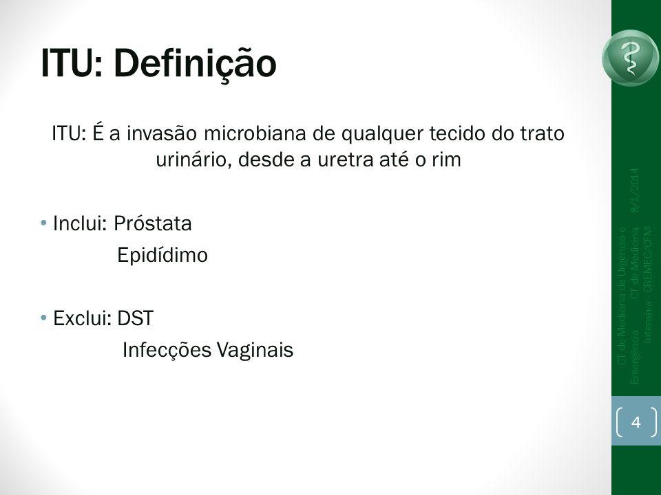 ITU: Definição ITU: É a invasão microbiana de qualquer tecido do trato urinário, desde a uretra até o rim Inclui: Próstata Epidídimo Exclui: DST Infecções Vaginais 8/1/2014 CT de Medicina de Urgência e Emergência CT de Medicina Intensiva - CREMEC/CFM 4