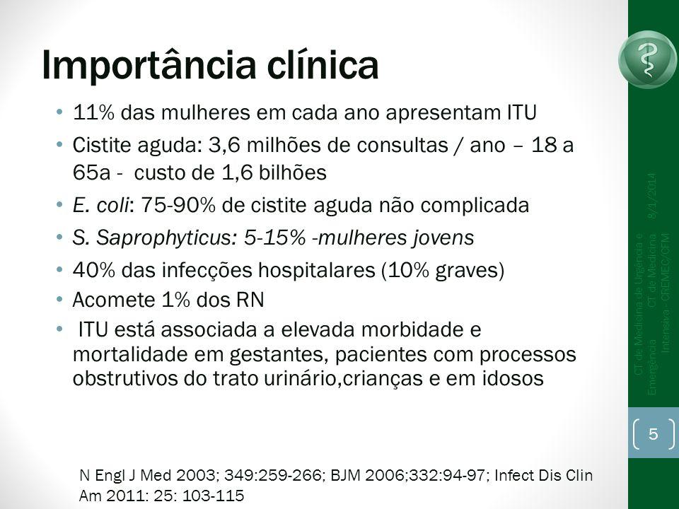 Importância clínica 11% das mulheres em cada ano apresentam ITU Cistite aguda: 3,6 milhões de consultas / ano – 18 a 65a - custo de 1,6 bilhões E. col