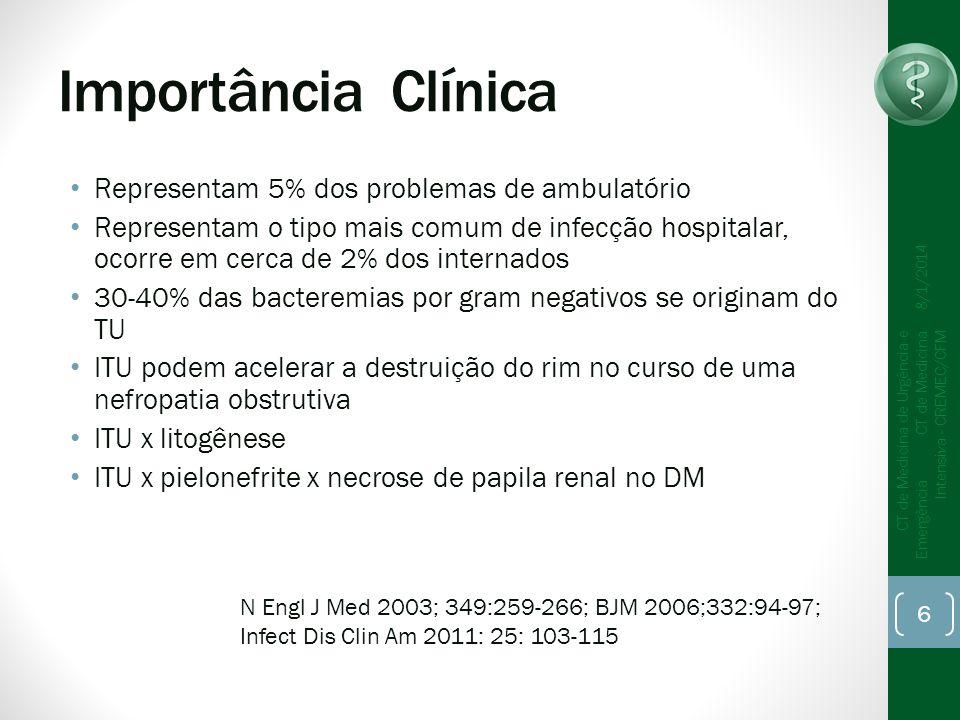 Bacteriúria Assintomática Conceito: presença de pelo menos duas culturas de urina com crescimento de 10 5 ufc/mL, ou mais, da mesma bactéria, sem sintomas, em mulher ( jato médio) OBS: Em homens, ou em mulheres colhida por cateterização basta 1 amostra positiva com contagem de 10 2 ufc/ml 8/1/2014 CT de Medicina de Urgência e Emergência CT de Medicina Intensiva - CREMEC/CFM 17
