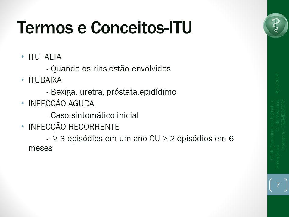 Termos e Conceitos-ITU ITU ALTA - Quando os rins estão envolvidos ITUBAIXA - Bexiga, uretra, próstata,epidídimo INFECÇÃO AGUDA - Caso sintomático inic