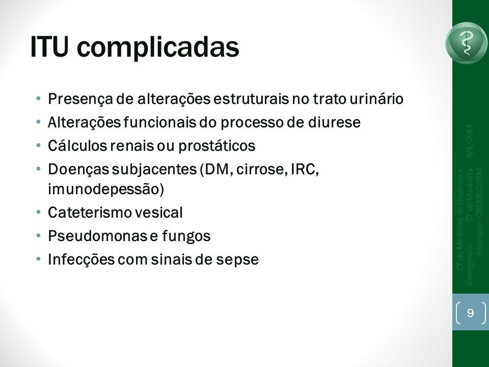 ITU complicadas Presença de alterações estruturais no trato urinário Alterações funcionais do processo de diurese Cálculos renais ou prostáticos Doenças subjacentes (DM, cirrose, IRC, imunodepessão) Cateterismo vesical Pseudomonas e fungos Infecções com sinais de sepse 8/1/2014 CT de Medicina de Urgência e Emergência CT de Medicina Intensiva - CREMEC/CFM 9