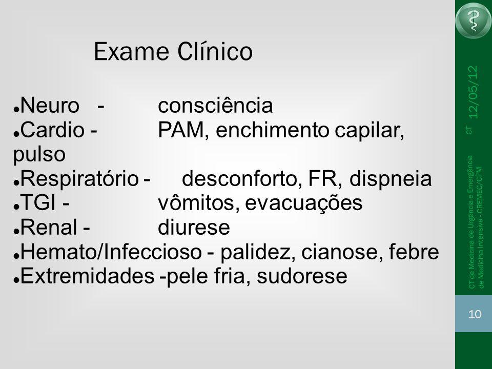 12/05/12 10 CT de Medicina de Urgência e Emergência CT de Medicina Intensiva - CREMEC/CFM Exame Clínico Neuro - consciência Cardio - PAM, enchimento c