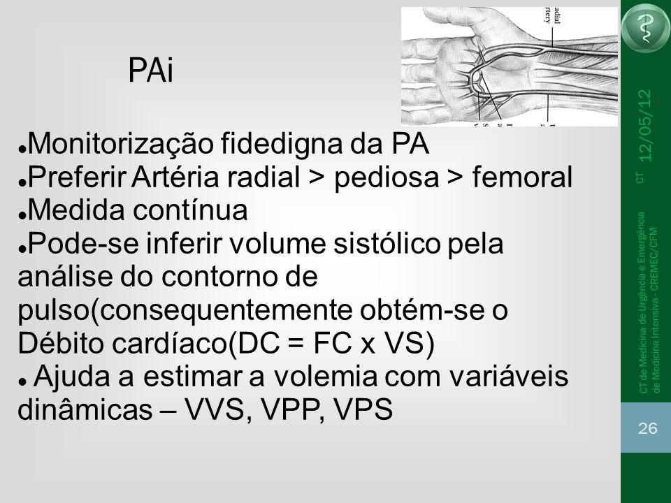 12/05/12 26 CT de Medicina de Urgência e Emergência CT de Medicina Intensiva - CREMEC/CFM PAi Monitorização fidedigna da PA Preferir Artéria radial >