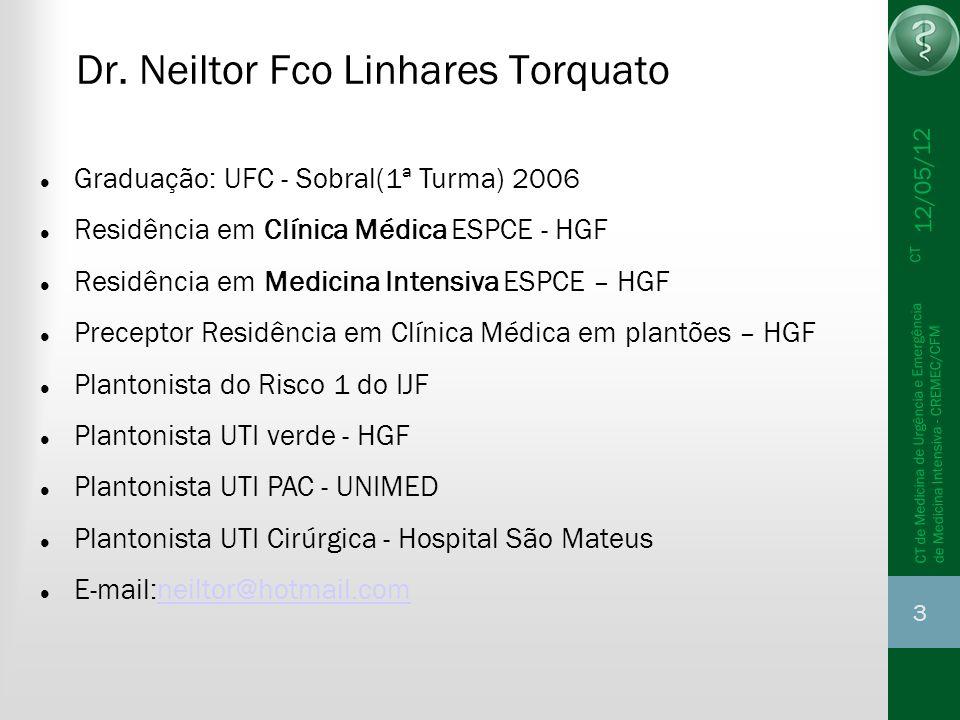 12/05/12 44 CT de Medicina de Urgência e Emergência CT de Medicina Intensiva - CREMEC/CFM PA 90/40, FC 118, PVC 10 cm H2O( 7mmHg), SaO2 94%, Urina escura 500ml SF => PVC 12cm(8mmHg), Pa 100/40, SvO2 60% 500ml SF => PVC 18cm(13mmHg) Pa 110/40, SvO2 70%, glasgow 9, Rx consolid base D, lactato 8, Gap CO2 8, Leuc 12000 Ht 40% Noradrenalina =>Pvc 15cm, Pa 110/60, Fc 100, SvO2 75% diurese 100ml/2h, ainda sonolento Caso clínico 1