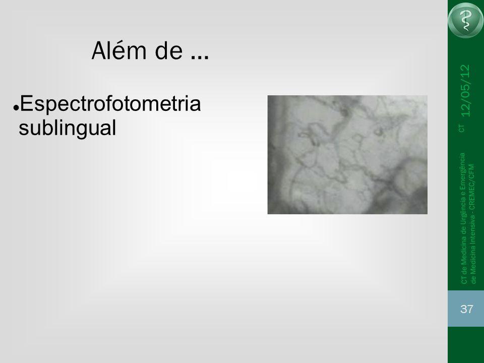 12/05/12 37 CT de Medicina de Urgência e Emergência CT de Medicina Intensiva - CREMEC/CFM Além de … Espectrofotometria sublingual
