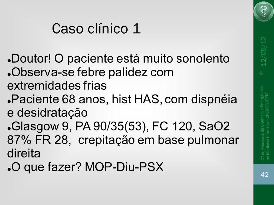 12/05/12 42 CT de Medicina de Urgência e Emergência CT de Medicina Intensiva - CREMEC/CFM Caso clínico 1 Doutor! O paciente está muito sonolento Obser