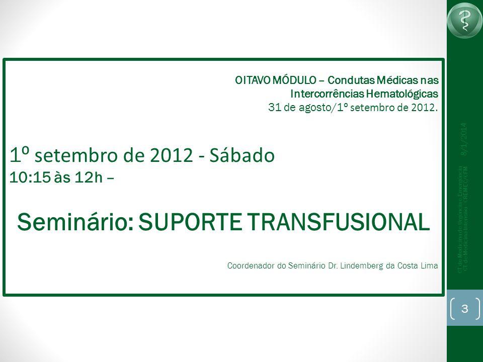 8/1/2014 CT de Medicina de Urgência e Emergência CT de Medicina Intensiva - CREMEC/CFM 4 Conc.