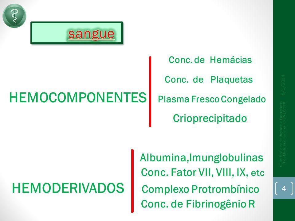 Arsenal Hemoterápico É o conjunto de componentes e derivados do sangue humano disponível para uso terapêutico.
