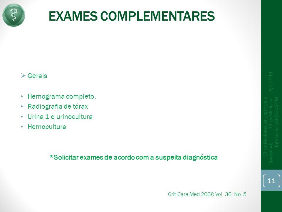 EXAMES COMPLEMENTARES Gerais Hemograma completo, Radiografia de tórax Urina 1 e urinocultura Hemocultura *Solicitar exames de acordo com a suspeita di