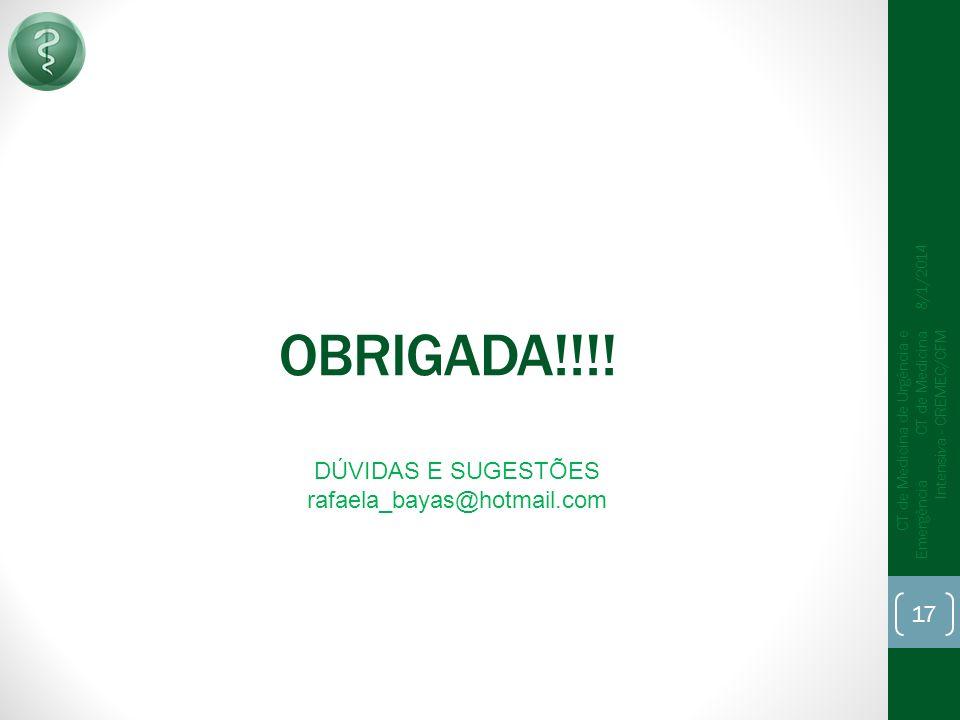 OBRIGADA!!!! 17 CT de Medicina de Urgência e Emergência CT de Medicina Intensiva - CREMEC/CFM 8/1/2014 DÚVIDAS E SUGESTÕES rafaela_bayas@hotmail.com