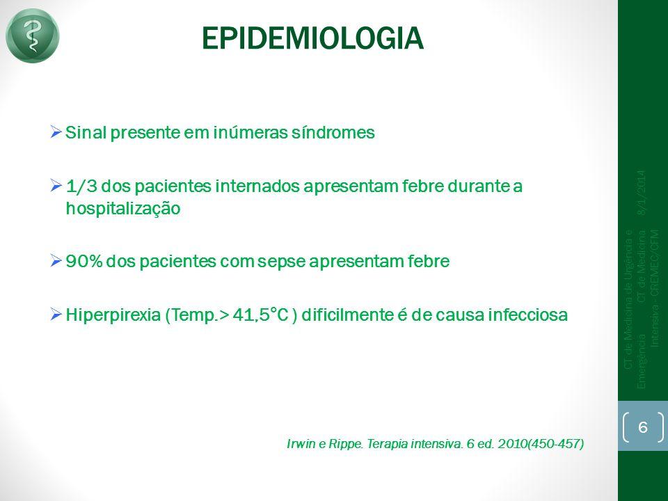 EPIDEMIOLOGIA Sinal presente em inúmeras síndromes 1/3 dos pacientes internados apresentam febre durante a hospitalização 90% dos pacientes com sepse