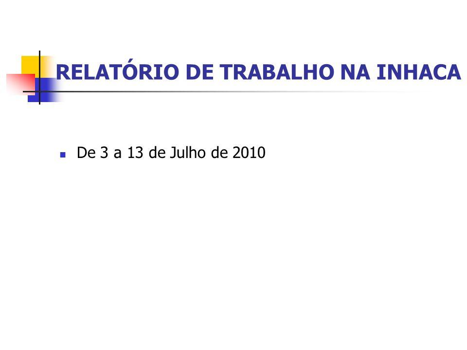 RELATÓRIO DE TRABALHO NA INHACA De 3 a 13 de Julho de 2010