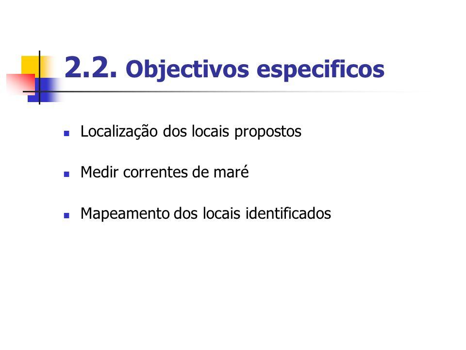 2.2. Objectivos especificos Localização dos locais propostos Medir correntes de maré Mapeamento dos locais identificados