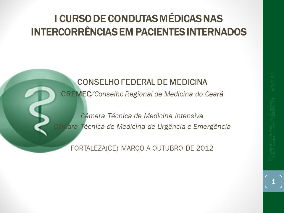 I CURSO DE CONDUTAS MÉDICAS NAS INTERCORRÊNCIAS EM PACIENTES INTERNADOS CONSELHO FEDERAL DE MEDICINA CREMEC /Conselho Regional de Medicina do Ceará Câ