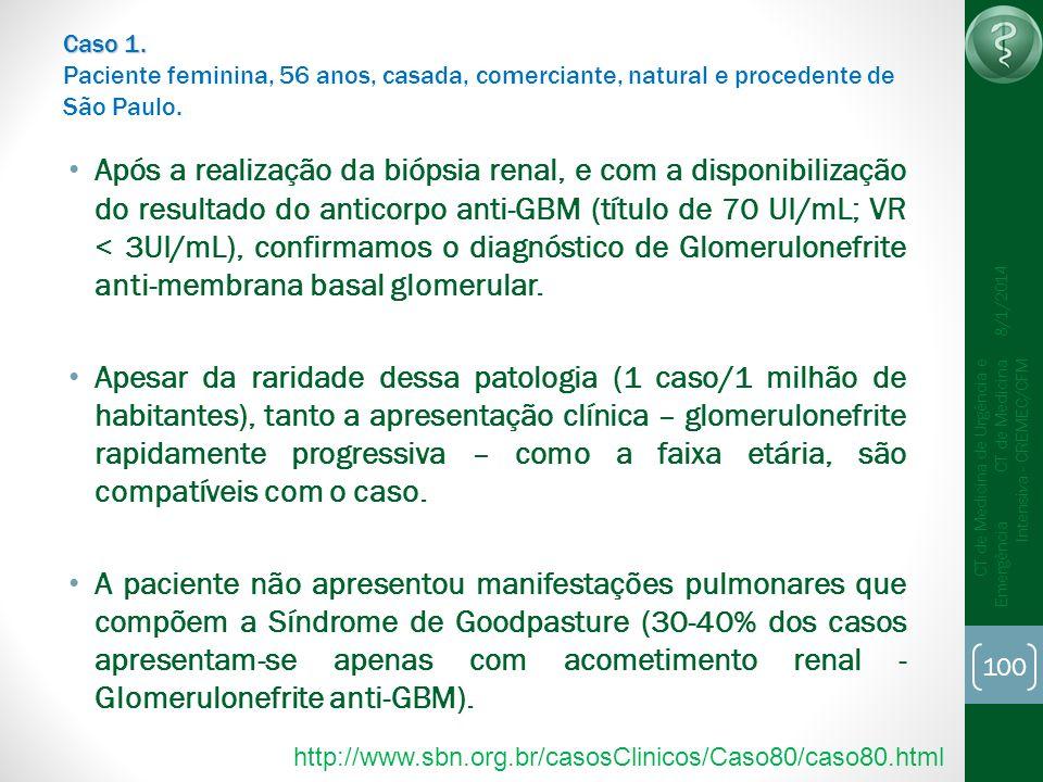 100 CT de Medicina de Urgência e Emergência CT de Medicina Intensiva - CREMEC/CFM 8/1/2014 Caso 1. Caso 1. Paciente feminina, 56 anos, casada, comerci