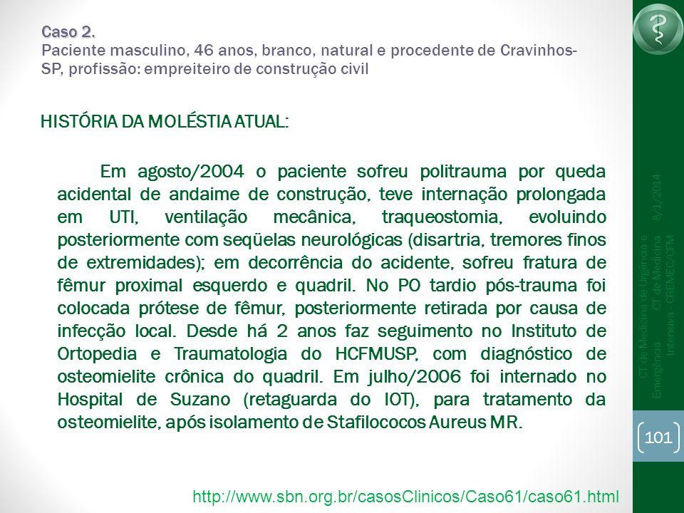 101 CT de Medicina de Urgência e Emergência CT de Medicina Intensiva - CREMEC/CFM 8/1/2014 Caso 2. Caso 2. Paciente masculino, 46 anos, branco, natura