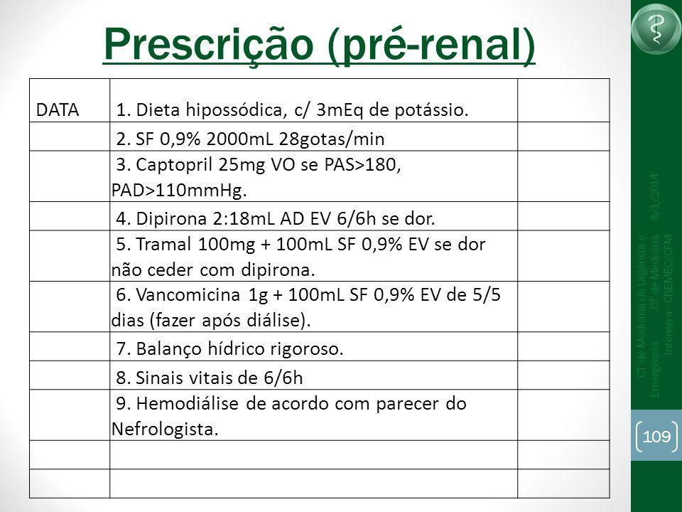 109 CT de Medicina de Urgência e Emergência CT de Medicina Intensiva - CREMEC/CFM 8/1/2014 Prescrição (pré-renal) DATA 1. Dieta hipossódica, c/ 3mEq d