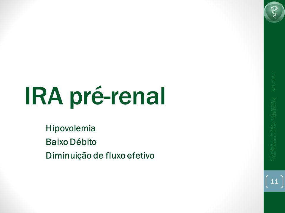 8/1/2014 CT de Medicina de Urgência e Emergência CT de Medicina Intensiva - CREMEC/CFM 11 IRA pré-renal Hipovolemia Baixo Débito Diminuição de fluxo e