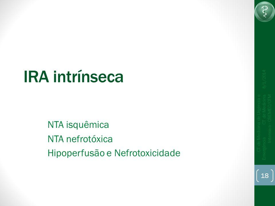 18 CT de Medicina de Urgência e Emergência CT de Medicina Intensiva - CREMEC/CFM 8/1/2014 IRA intrínseca NTA isquêmica NTA nefrotóxica Hipoperfusão e