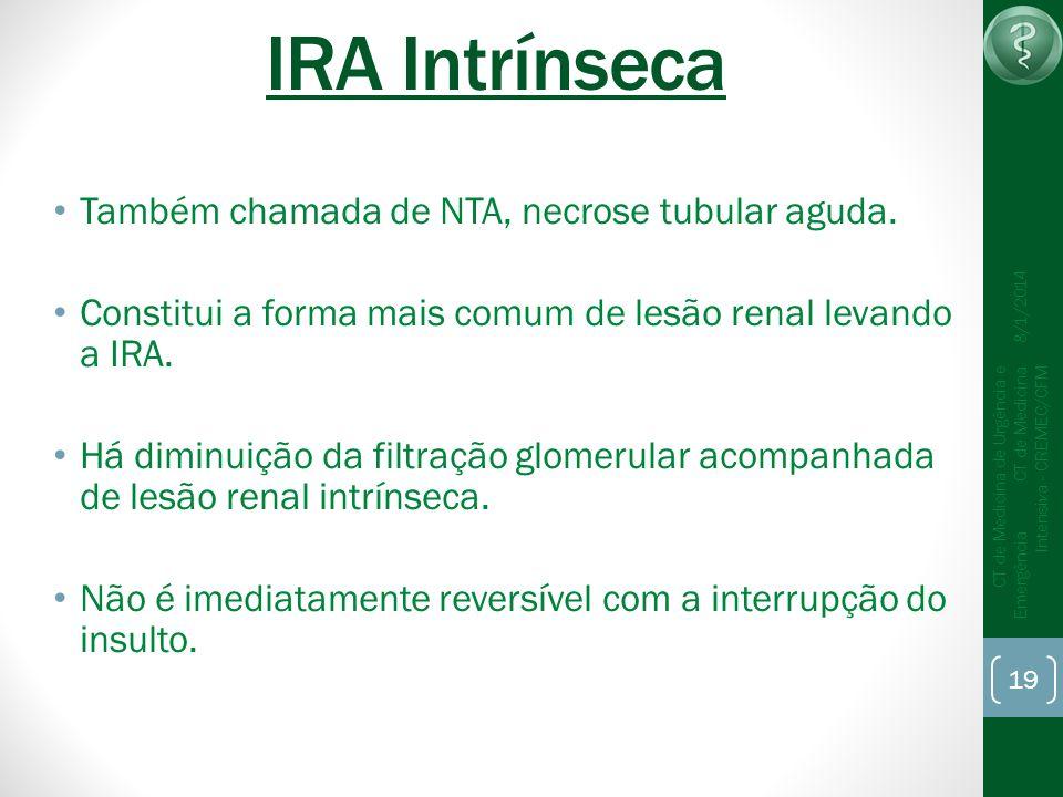 19 CT de Medicina de Urgência e Emergência CT de Medicina Intensiva - CREMEC/CFM 8/1/2014 IRA Intrínseca Também chamada de NTA, necrose tubular aguda.