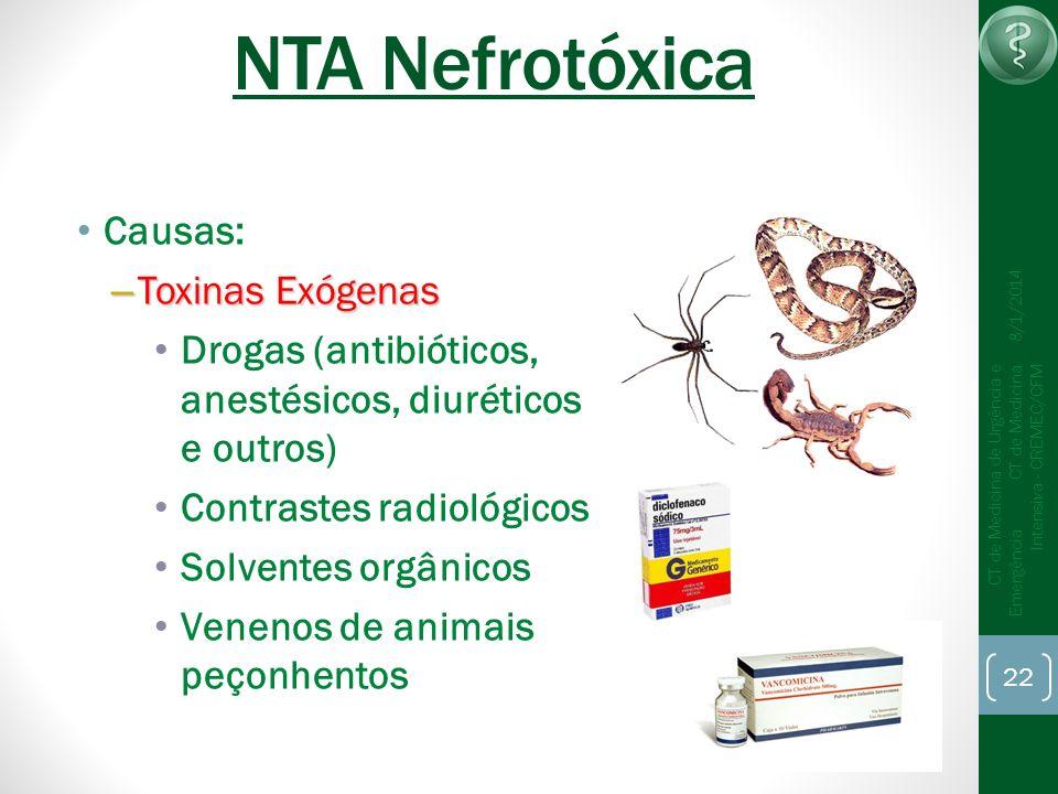 22 CT de Medicina de Urgência e Emergência CT de Medicina Intensiva - CREMEC/CFM 8/1/2014 NTA Nefrotóxica Causas: – Toxinas Exógenas Drogas (antibióti