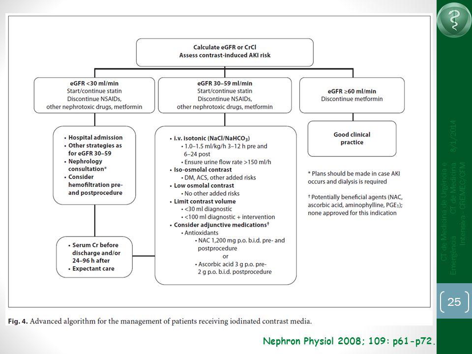 25 CT de Medicina de Urgência e Emergência CT de Medicina Intensiva - CREMEC/CFM 8/1/2014 Nephron Physiol 2008; 109: p61-p72.