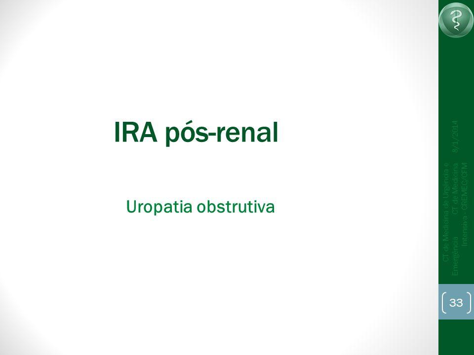 33 CT de Medicina de Urgência e Emergência CT de Medicina Intensiva - CREMEC/CFM 8/1/2014 IRA pós-renal Uropatia obstrutiva