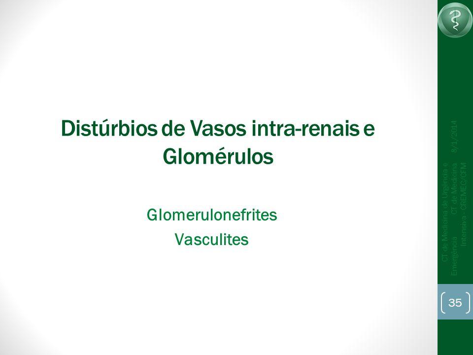 35 CT de Medicina de Urgência e Emergência CT de Medicina Intensiva - CREMEC/CFM 8/1/2014 Distúrbios de Vasos intra-renais e Glomérulos Glomerulonefri