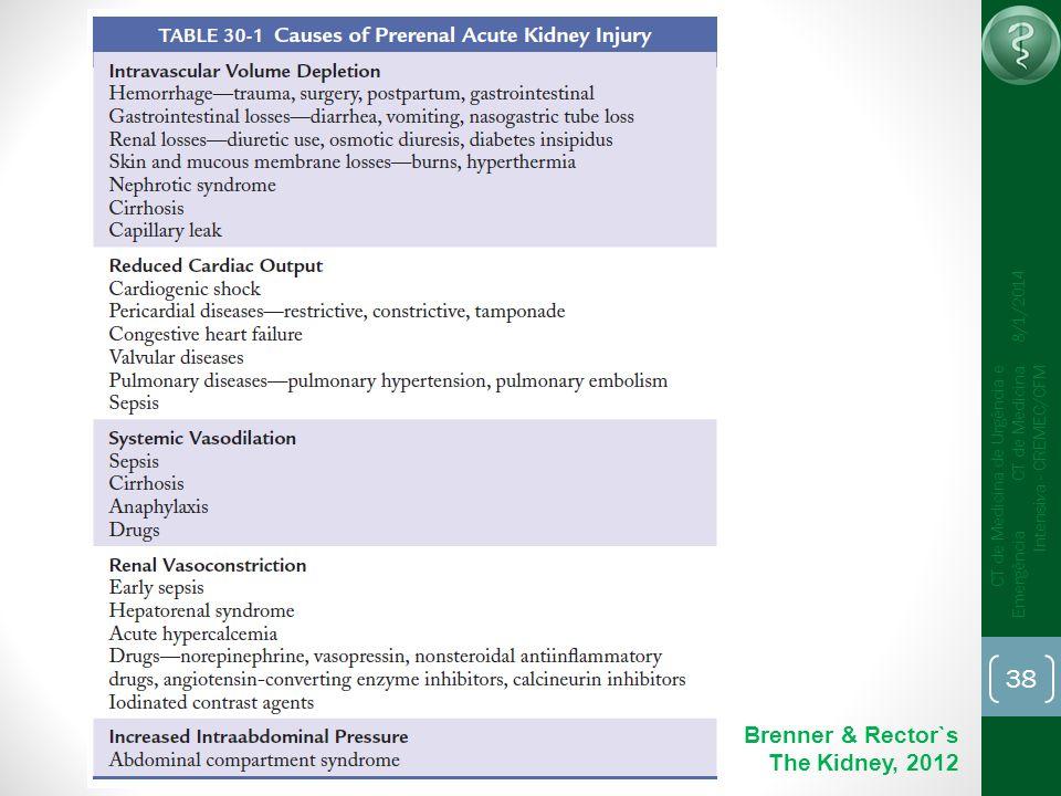 38 CT de Medicina de Urgência e Emergência CT de Medicina Intensiva - CREMEC/CFM 8/1/2014 Brenner & Rector`s The Kidney, 2012