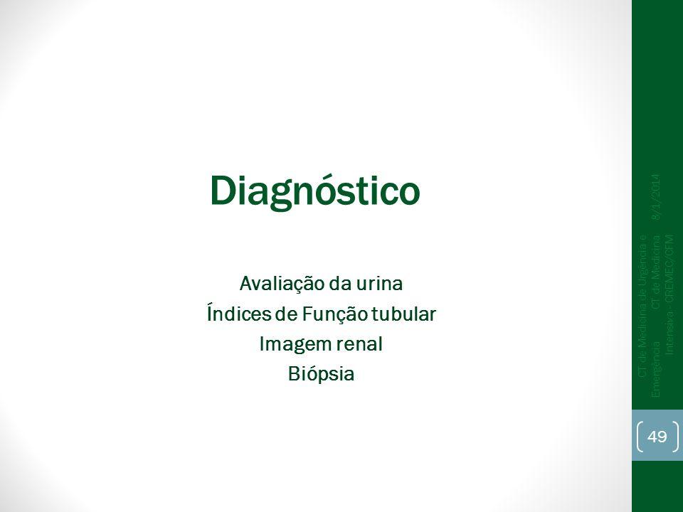 49 CT de Medicina de Urgência e Emergência CT de Medicina Intensiva - CREMEC/CFM 8/1/2014 Diagnóstico Avaliação da urina Índices de Função tubular Ima