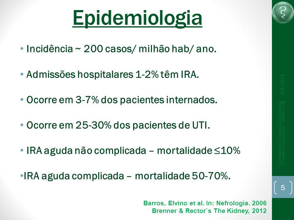 8/1/2014 CT de Medicina de Urgência e Emergência CT de Medicina Intensiva - CREMEC/CFM 5 Epidemiologia Incidência ~ 200 casos/ milhão hab/ ano. Admiss