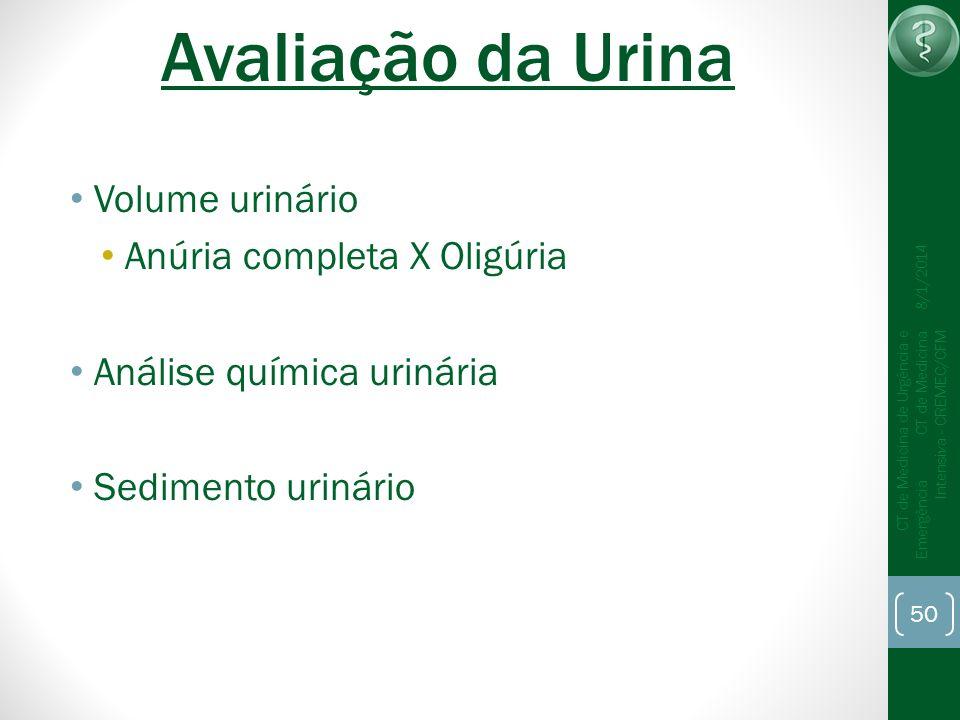 50 CT de Medicina de Urgência e Emergência CT de Medicina Intensiva - CREMEC/CFM 8/1/2014 Avaliação da Urina Volume urinário Anúria completa X Oligúri
