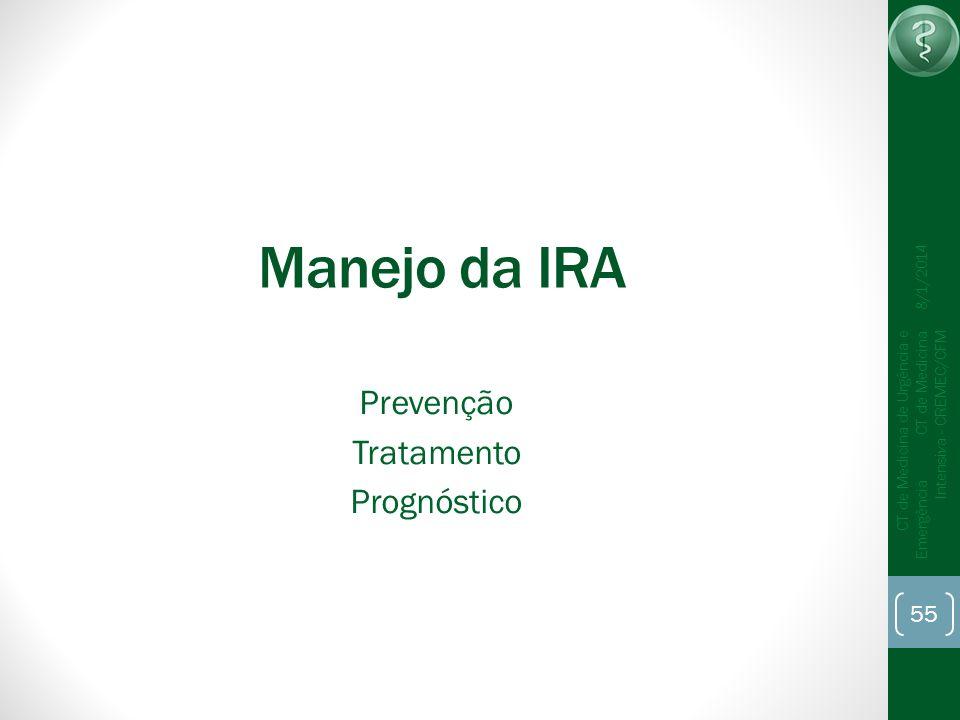 55 CT de Medicina de Urgência e Emergência CT de Medicina Intensiva - CREMEC/CFM 8/1/2014 Manejo da IRA Prevenção Tratamento Prognóstico
