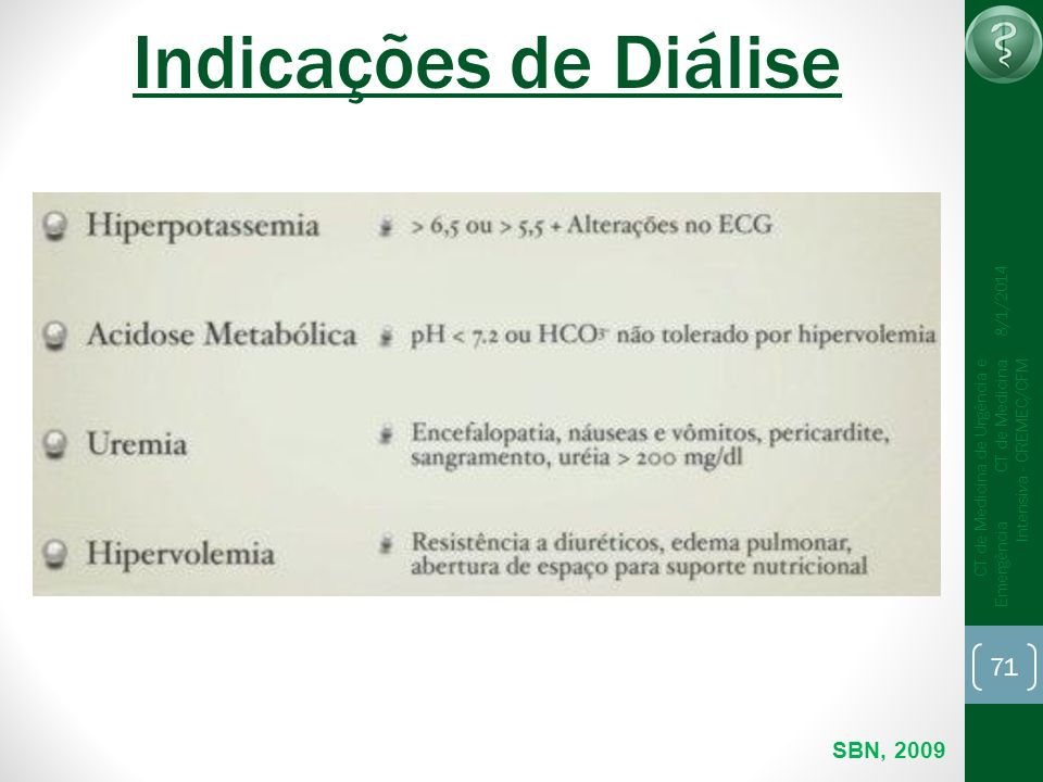 71 CT de Medicina de Urgência e Emergência CT de Medicina Intensiva - CREMEC/CFM 8/1/2014 Indicações de Diálise SBN, 2009
