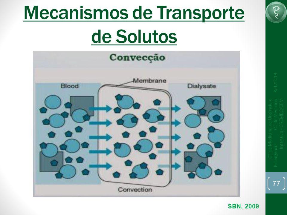 77 CT de Medicina de Urgência e Emergência CT de Medicina Intensiva - CREMEC/CFM 8/1/2014 Mecanismos de Transporte de Solutos SBN, 2009
