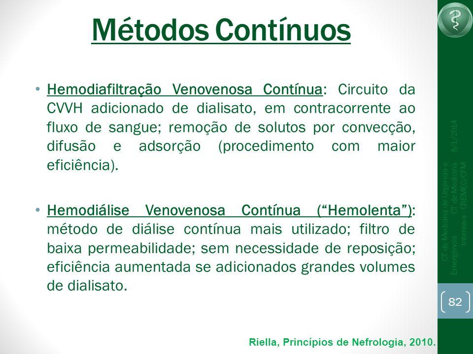 82 CT de Medicina de Urgência e Emergência CT de Medicina Intensiva - CREMEC/CFM 8/1/2014 Métodos Contínuos Hemodiafiltração Venovenosa Contínua: Circ