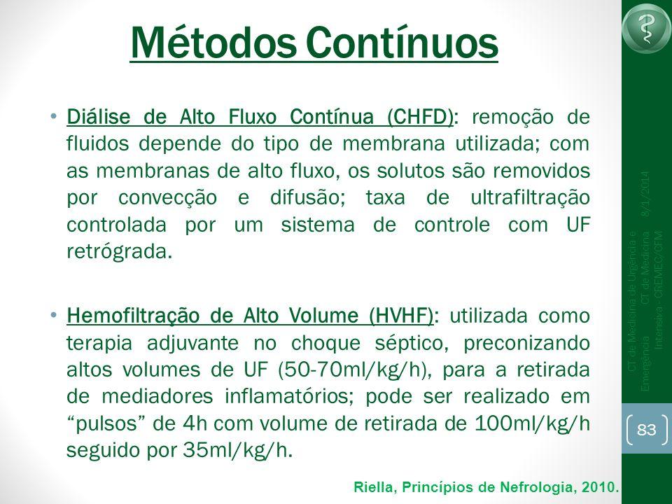 83 CT de Medicina de Urgência e Emergência CT de Medicina Intensiva - CREMEC/CFM 8/1/2014 Métodos Contínuos Diálise de Alto Fluxo Contínua (CHFD): rem