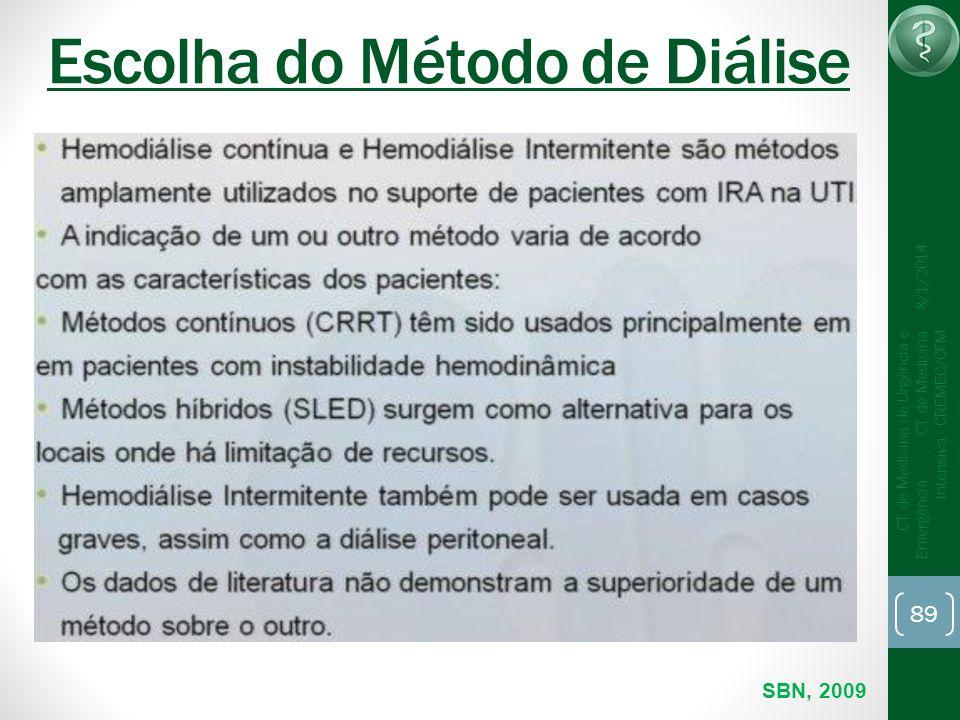 89 CT de Medicina de Urgência e Emergência CT de Medicina Intensiva - CREMEC/CFM 8/1/2014 Escolha do Método de Diálise SBN, 2009