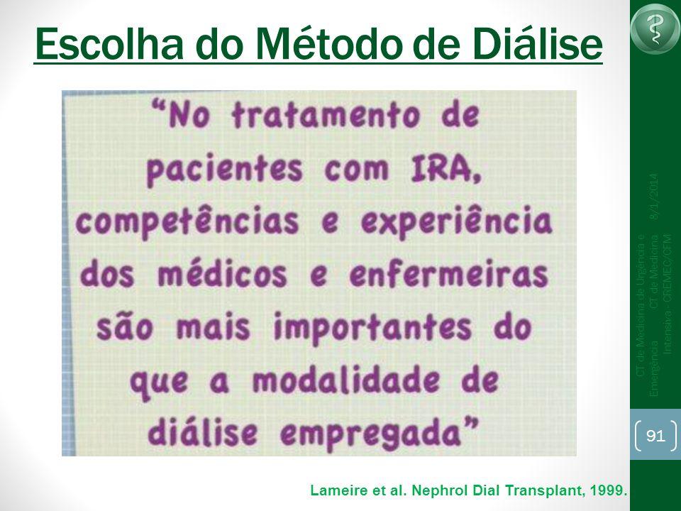 91 CT de Medicina de Urgência e Emergência CT de Medicina Intensiva - CREMEC/CFM 8/1/2014 Escolha do Método de Diálise Lameire et al. Nephrol Dial Tra