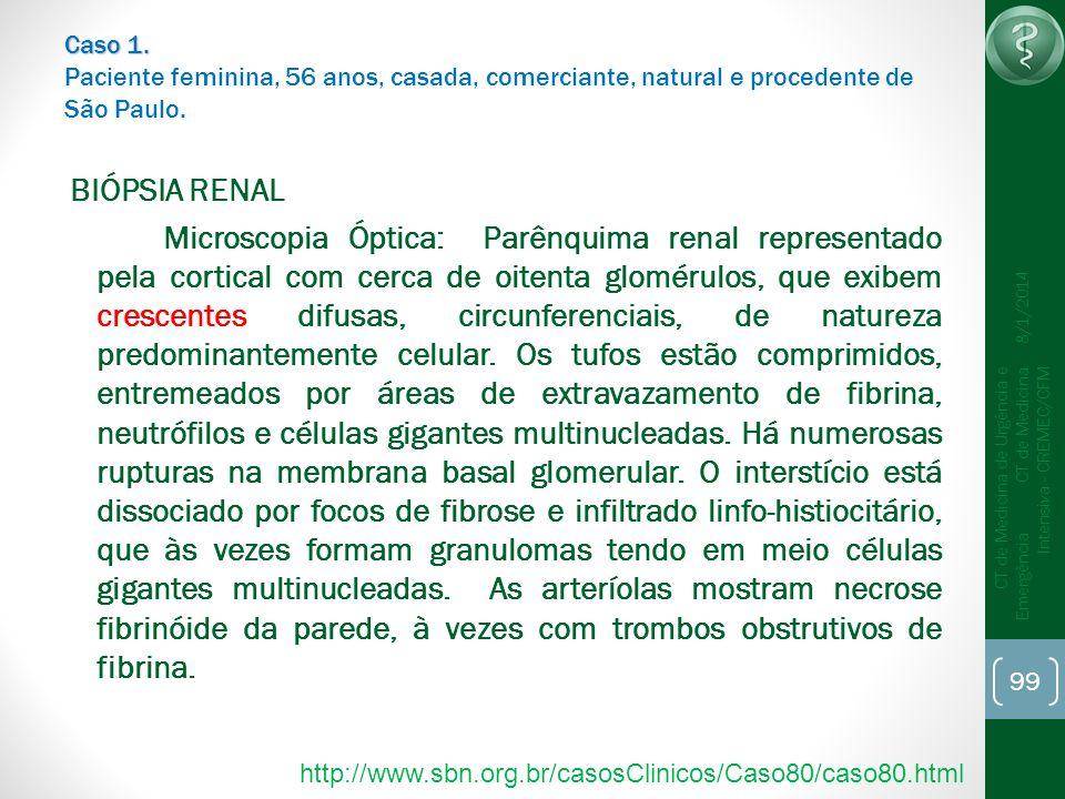 99 CT de Medicina de Urgência e Emergência CT de Medicina Intensiva - CREMEC/CFM 8/1/2014 Caso 1. Caso 1. Paciente feminina, 56 anos, casada, comercia
