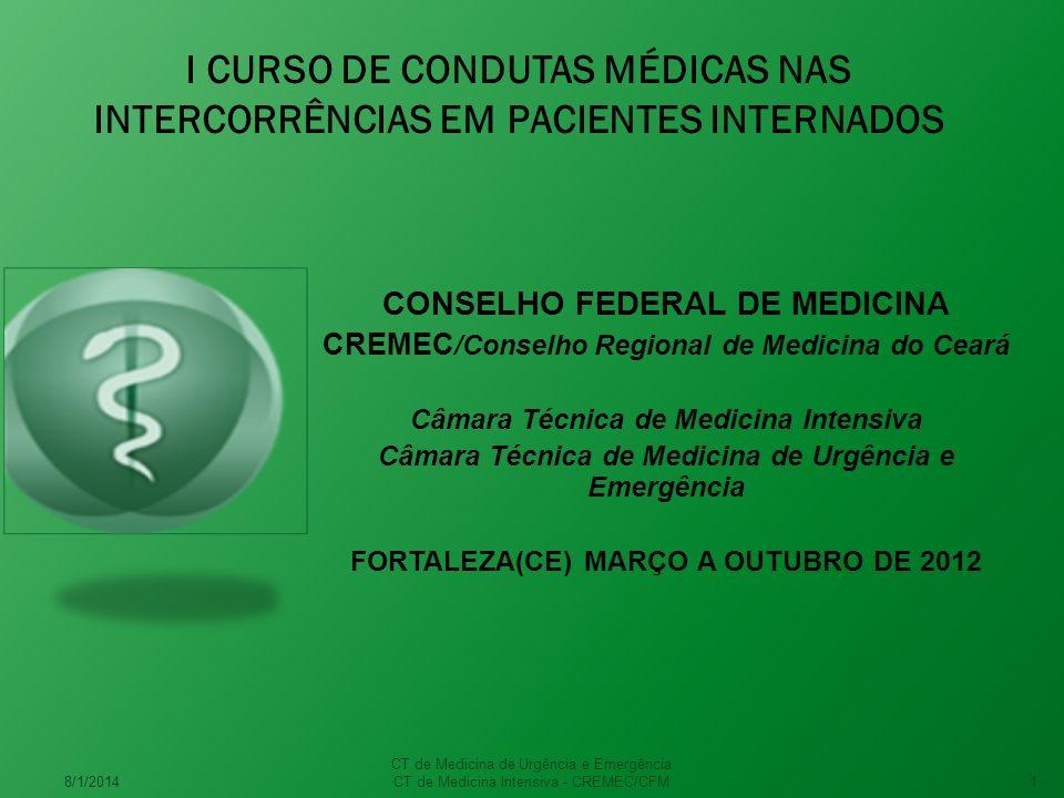 I CURSO DE CONDUTAS MÉDICAS NAS INTERCORRÊNCIAS EM PACIENTES INTERNADOS CONSELHO FEDERAL DE MEDICINA CREMEC /Conselho Regional de Medicina do Ceará Câmara Técnica de Medicina Intensiva Câmara Técnica de Medicina de Urgência e Emergência FORTALEZA(CE) MARÇO A OUTUBRO DE 2012 8/1/2014 CT de Medicina de Urgência e Emergência CT de Medicina Intensiva - CREMEC/CFM1
