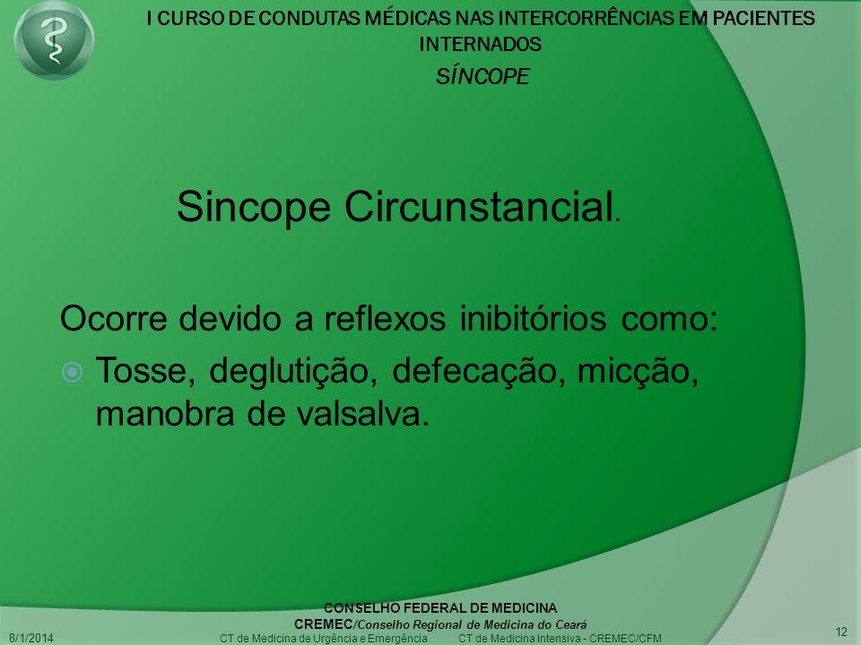 I CURSO DE CONDUTAS MÉDICAS NAS INTERCORRÊNCIAS EM PACIENTES INTERNADOS SÍNCOPE 8/1/2014 CONSELHO FEDERAL DE MEDICINA CREMEC /Conselho Regional de Medicina do Ceará CT de Medicina de Urgência e Emergência CT de Medicina Intensiva - CREMEC/CFM 12 Ocorre devido a reflexos inibitórios como: Tosse, deglutição, defecação, micção, manobra de valsalva.