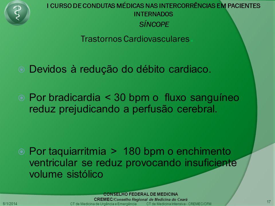 I CURSO DE CONDUTAS MÉDICAS NAS INTERCORRÊNCIAS EM PACIENTES INTERNADOS SÍNCOPE 8/1/2014 CONSELHO FEDERAL DE MEDICINA CREMEC /Conselho Regional de Medicina do Ceará CT de Medicina de Urgência e Emergência CT de Medicina Intensiva - CREMEC/CFM 17 Trastornos Cardiovasculares.